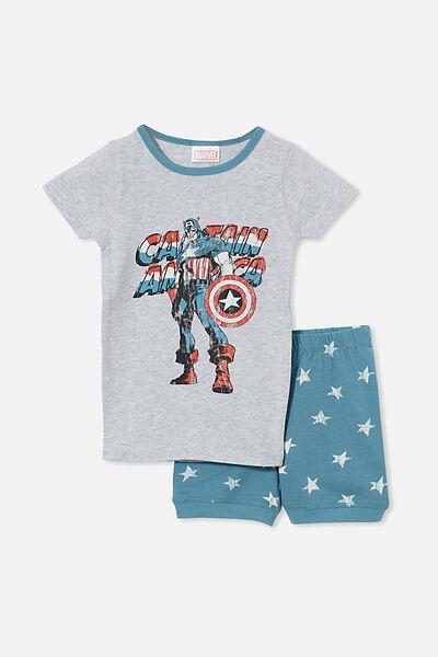 Ted Short Sleeve Pyjama Set Licensed, LCN MAR CAPTAIN AMERICA/TEAL STORM
