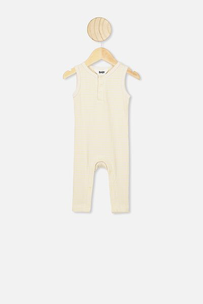The Sleeveless Long Leg Rib Romper, SALLA STRIPE DARK VANILLA/PASTEL LEMON