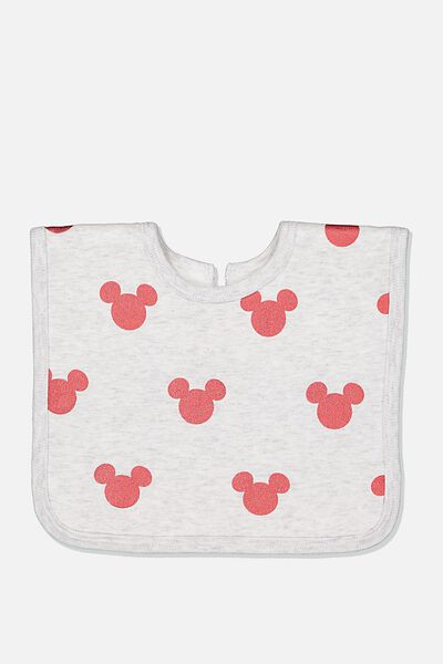 The Everyday Bib, LCN DIS SOFT GREY MARLE/RED MICKEY FOIL