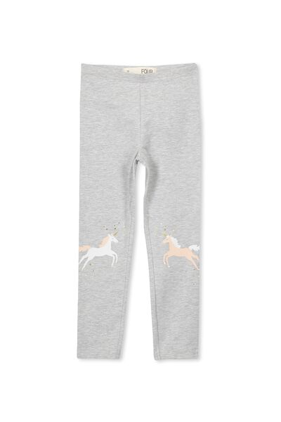 Huggie Tights, LIGHT GREY MARLE/UNICORN PATCH