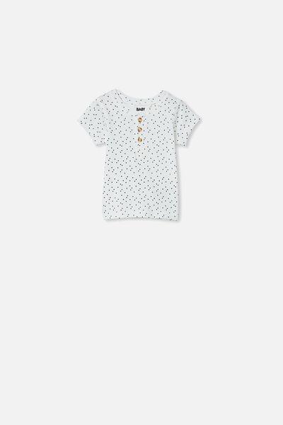 Henry Short Sleeve Placket Top, VANILLA/MINI STARS