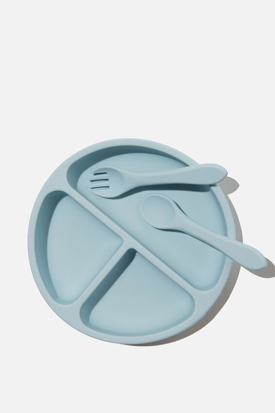 Silicone Plate & Cutlery Set, ETHER BLUE