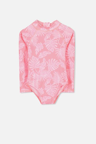 Lydia Rashie Swimsuit, FIZZY PINK/PALM LEAVES YARDAGE
