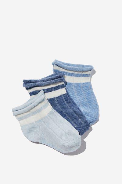 3Pk Baby Socks, MIXED YARN BLUES STRIPE
