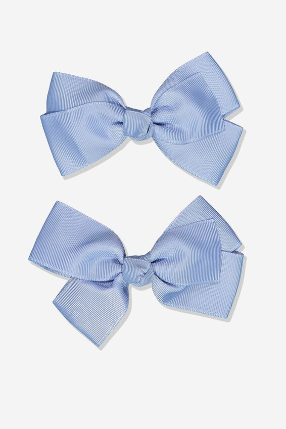 Big Bow Clips, DUSTY BLUE 2PK