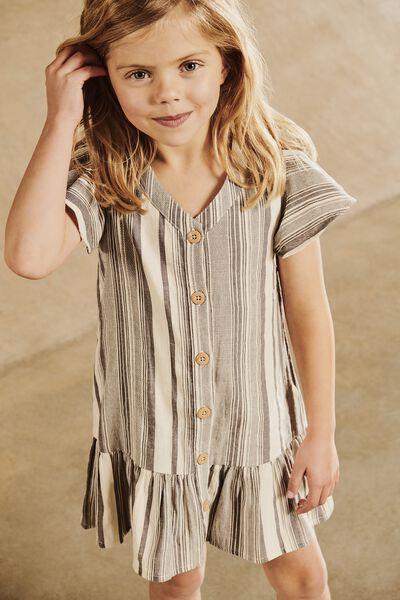 Lola Short Sleeve Dress, DARK VANILLA/GREY VARIGATED STRIPE
