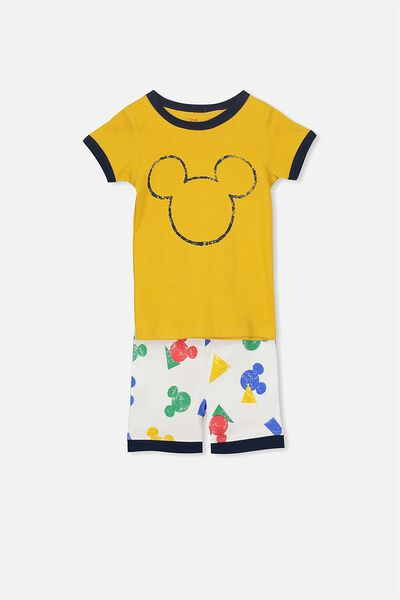 Joshua Short Sleeve Pyjama Set, LCN MICKEY MOUSE GOLDEN
