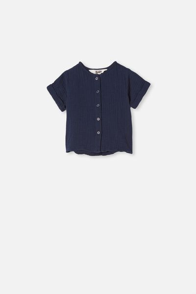 Mike Short Sleeve Shirt, NAVY BLAZER