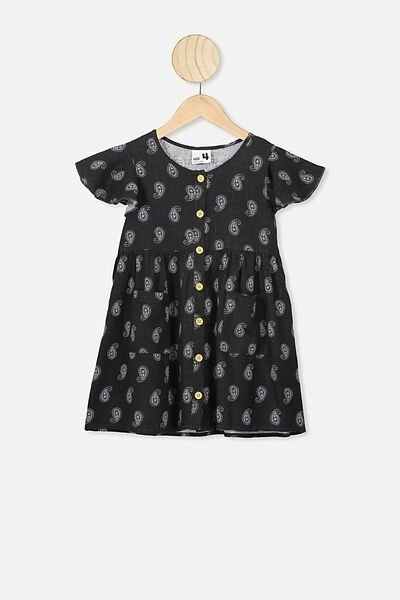 Vanessa Short Sleeve Dress, PHANTOM/PAISLEY TEARDROP
