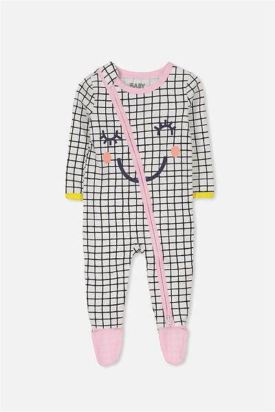 Sleep Mini Zip All In One Jumpsuit, VANILLA/SMILES GRID