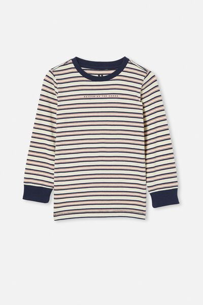 Tom Long Sleeve Tee, DARK VANILLA/INDIGO STRIPE