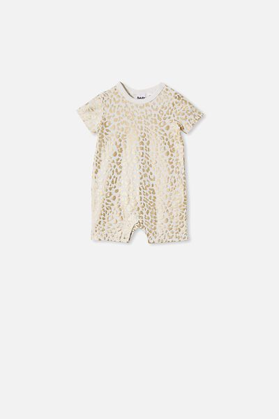 The Short Sleeve Romper, VANILLA/FOIL SUMMER OCELOT