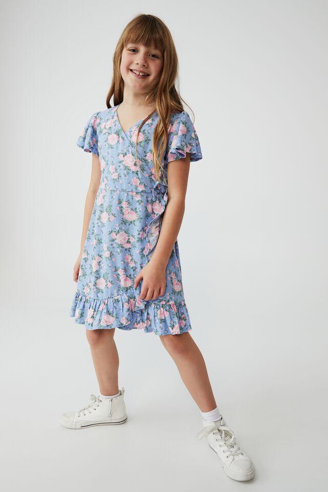 Britta Short Sleeve Dress, DUSK BLUE WHITBY ROSIE FLORAL