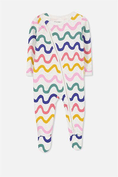 Sleep Mini Zip All In One Jumpsuit, OATMEAL/MULTI WAVE