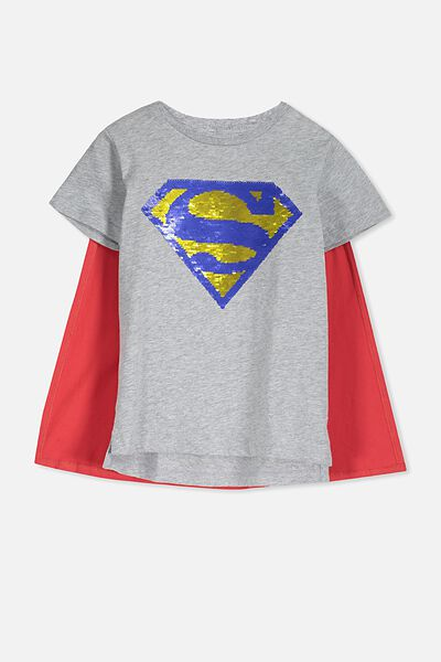 Short Sleeve License Cape Tee, LT GREY MARLE/SUPERMAN SEQUIN