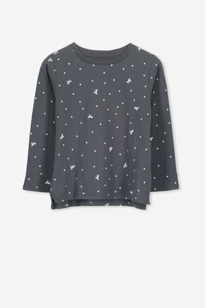 Penelope Long Sleeve Tee, GRAPHITE/UNICORN SPOT/SET IN