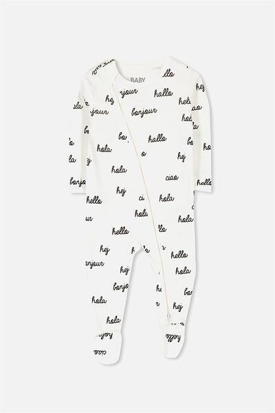 Sleep Mini Zip All In One Jumpsuit, VANILLA/HELLO