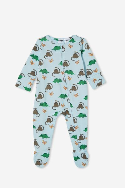 The Long Sleeve Zip Romper, FROSTY BLUE/DINO MATES