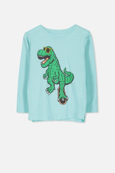 Tom Long Sleeve Tee, SEA TINT/SKATE DINO