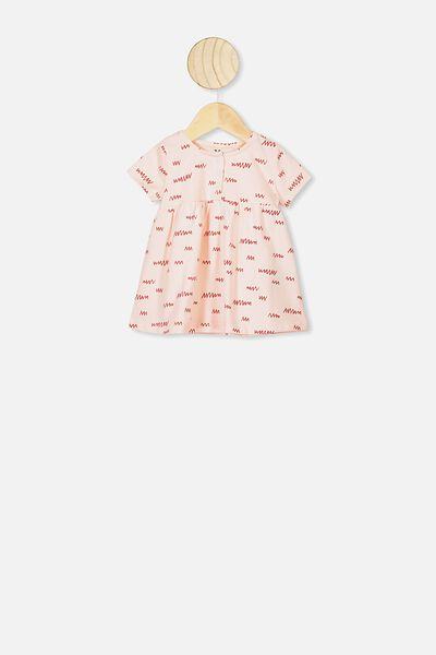 Milly Short Sleeve Dress, CRYSTAL PINK/LITTLE SCRIBBLE