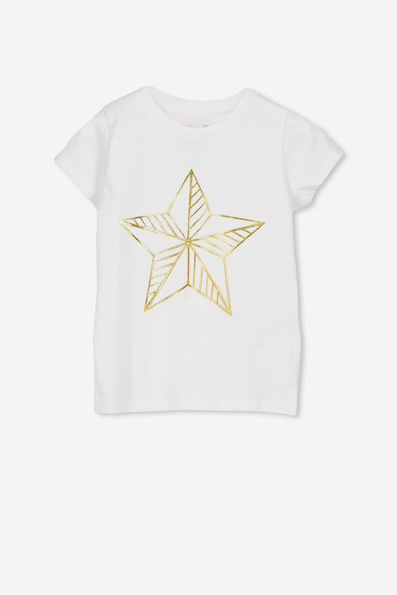 Anna Ss Tee, WHITE/GOLD STAR/SET IN