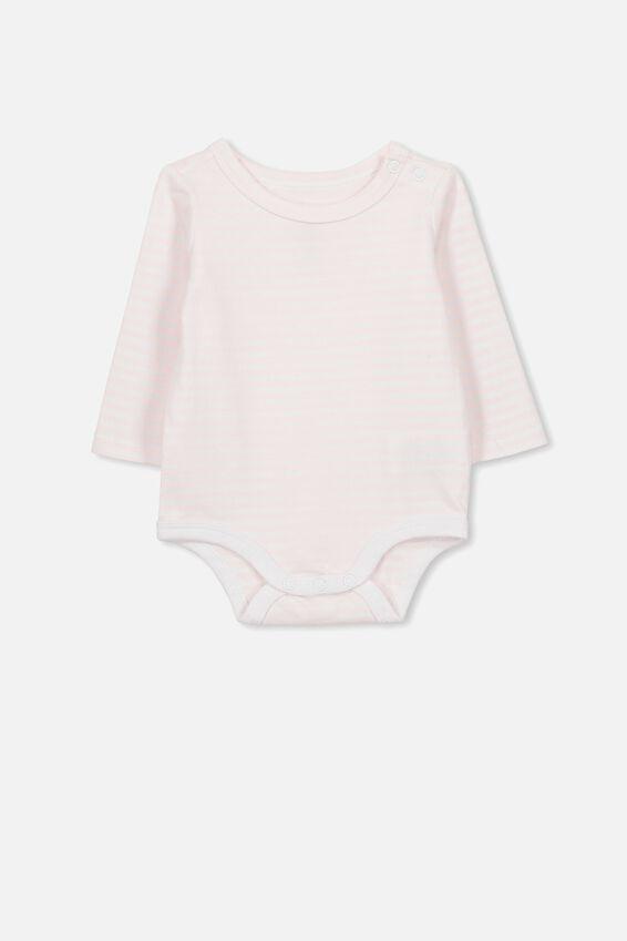 The Long Sleeve Bubbysuit, CHRIS STRIPE CRYSTAL PINK/WHITE