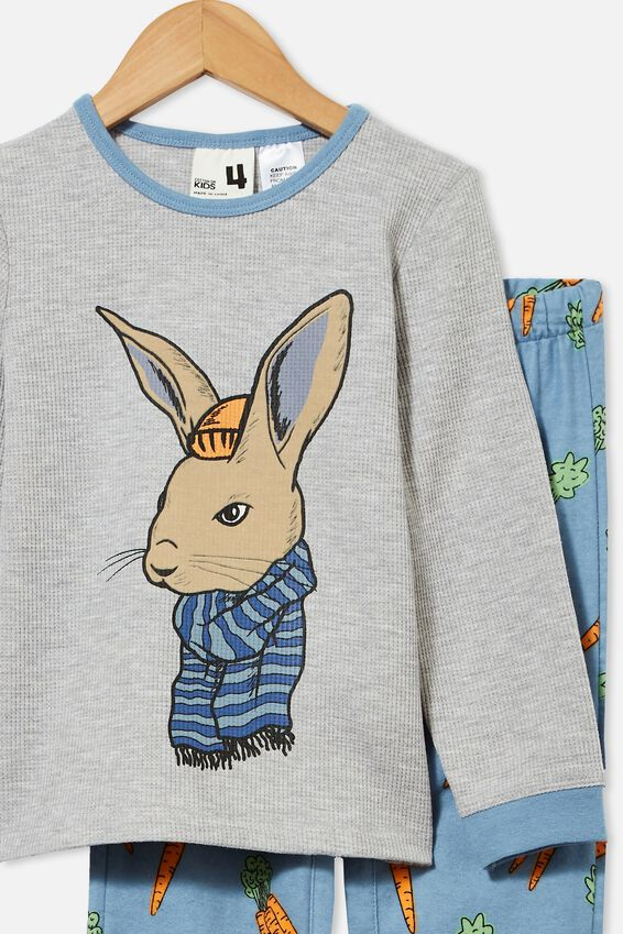Noah Long Sleeve Pyjama Set, COOL BUNNY/ SUMMER GREY MARLE