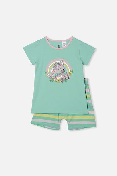 Harpa Short Sleeve Pyjama Set, FLORAL UNICORN MINT BREEZE