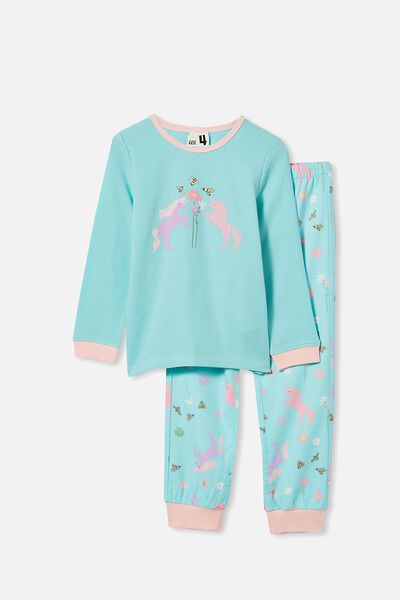 Edith Long Sleeve Pyjama Set, UNICORN AND BEES/DREAM BLUE