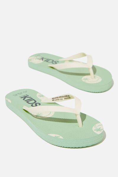 Printed Flip Flop, PALM SMILEY SPEARMINT