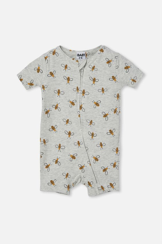 The Snug Short Sleeve Romper, CLOUD MARLE/BUDDY BEE
