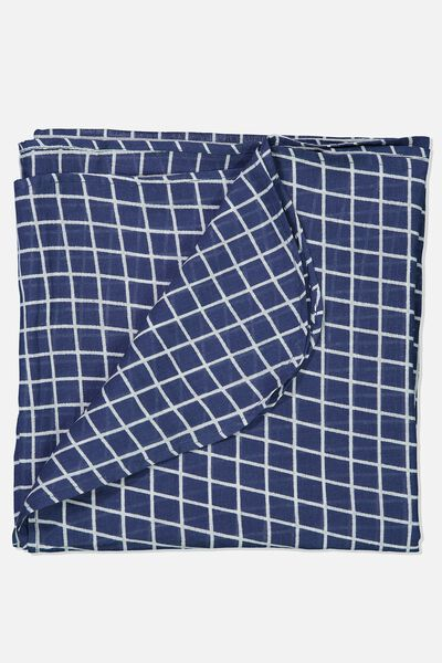 Muslin Wraps, WASHED NAVY/GRID
