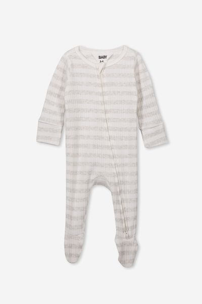 Newborn Zip Through Romper, KYLE STRIPE MILK/CLOUD MARLE