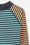 Fraser Long Sleeve Rash Vest, SEA TINT/TROPICAL ORANGE STRIPE
