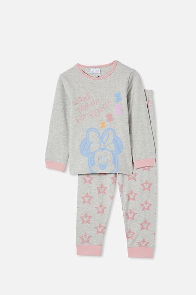 Florence Long Sleeve Pyjama Set Licensed, LCN DIS MINNIE FOOD / SUMMER GREY MARLE