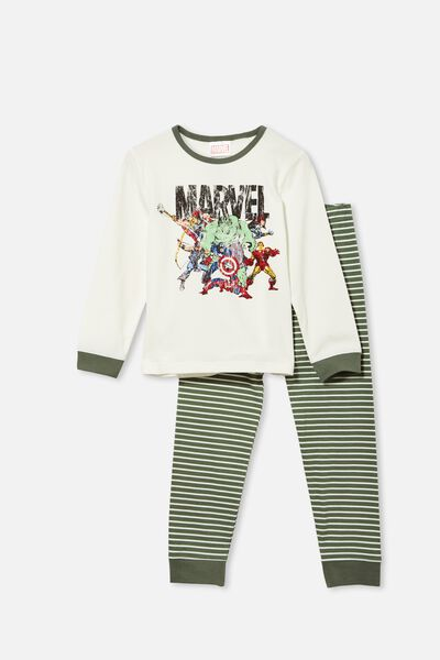 Orlando Long Sleeve Pyjama Set Licensed, LCN MAR MARVEL TEAM/VANILLA