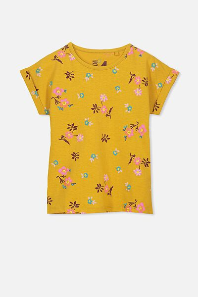 Penelope Short Sleeve Tee, MINERAL YELLOW/DITSY FLORAL/DROP