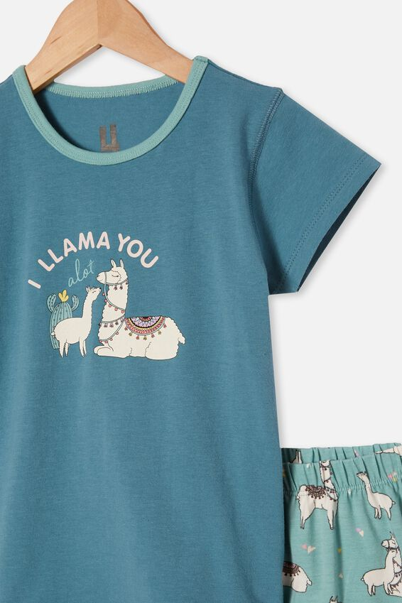 Harpa Short Sleeve Pyjama Set, I LLAMA YOU TEAL STORM
