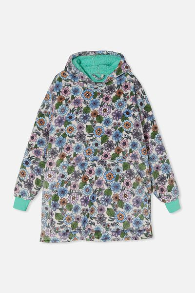 Snugget Adults Oversized Hoodie, RETRO FLORAL/CRYSTAL PINK