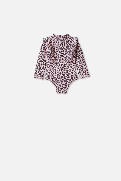 Tori Long Sleeve Swimsuit, PEARL PINK/SUMMER OCELOT