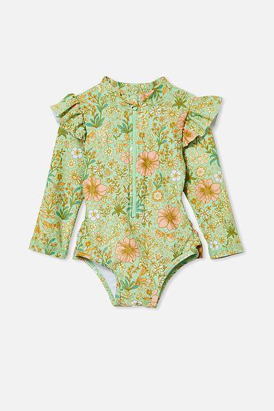 Lucy Long Sleeve Swimsuit, SPEARMINT/GARDEN FLORAL