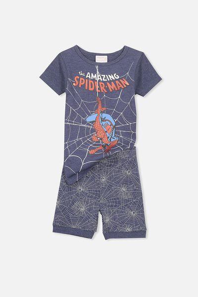 Joshua Boys Short Sleeve Pyjama Set, SPIDERMAN NAVY WEB
