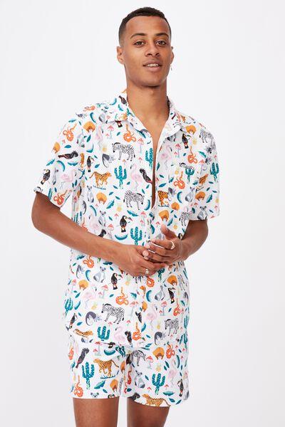 Kip & Co Mens Resort Short Sleeve Shirt, LCN KIP IN THE JUNGLE