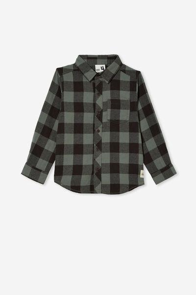 Rugged Long Sleeve Shirt, SWAG GREEN/PHANTOM BUFFALO CHECK