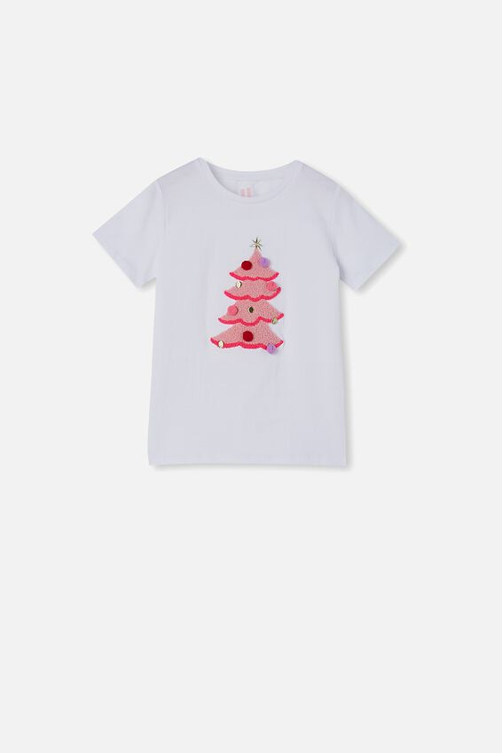 Stevie Short Sleeve Embellished Tee, WHITE/ POM POM XMAS TREE