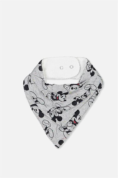 License Dribble Bib, LT GREY MARLE COLOURED/MICKEY ATTITUDE