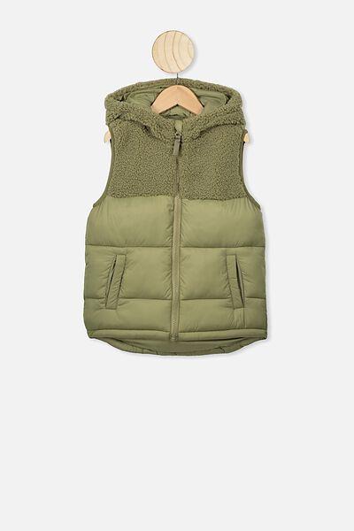 Billie Puffer Vest, GUMLEAF/SPLICE
