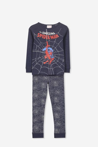 Harry Long Sleeve Boys PJ Set, LCN MAR SPIDERMAN NAVY WEB