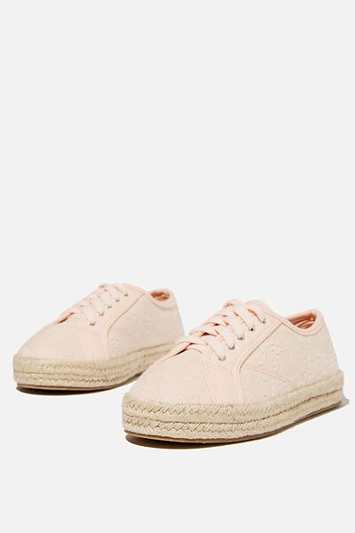 Lace Up Espadrille, PINK PAISLEY BRODERIE