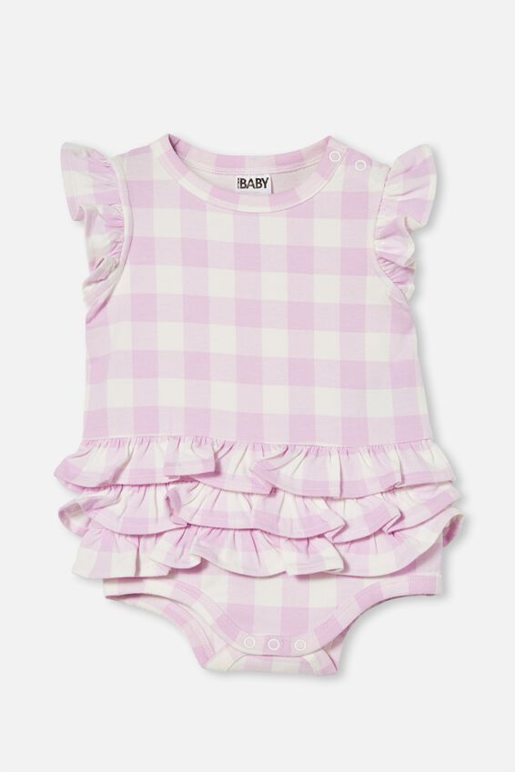 Alice Ruffle Bubbysuit, PALE VIOLET/VANILLA MAXI GINGHAM